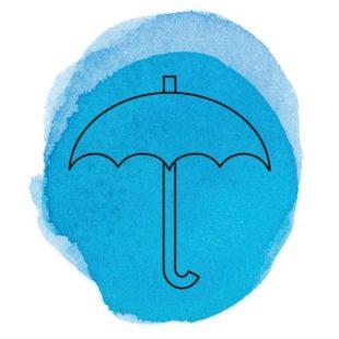 Symbol Regenschirm auf blauem Hintergrund