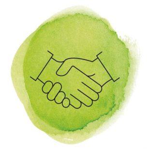 Symbol Handschlag auf grünem Hintergrund