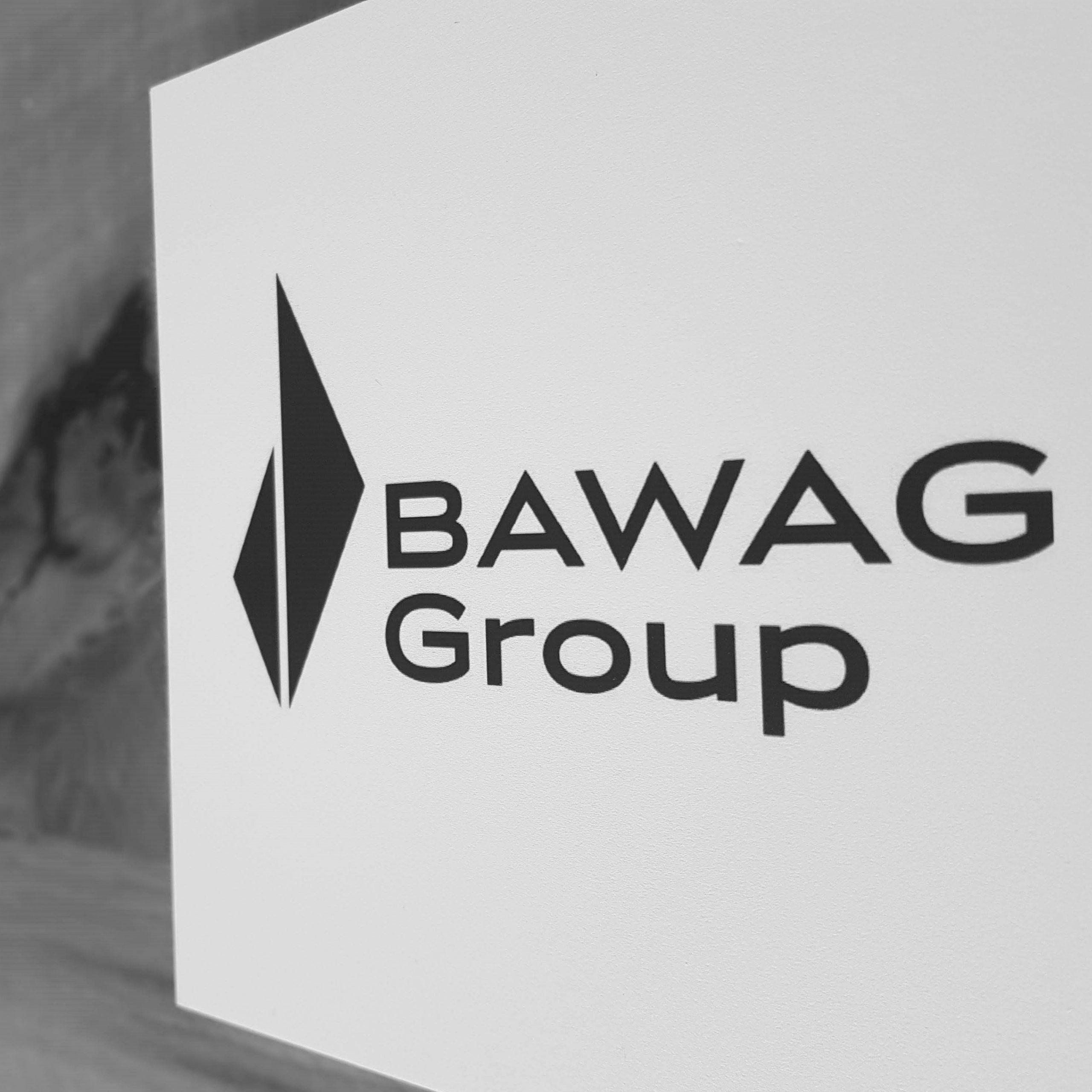 Abfotografiertes Logo BAWAG Deutsche Kreditbank AG schwarzweiß