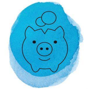 Symbol Banken Sparschwein mit blauem Farbkleks