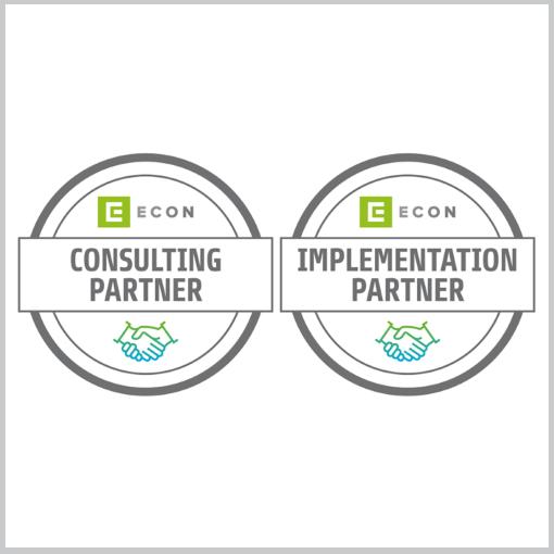 2 Logos Consulting und Implementation Partner ECON Händedruck
