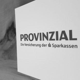 Abfotografiertes Logo Provinzial Versicherung schwarzweiß