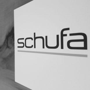 Abfotografiertes Logo SCHUFA schwarzweiß