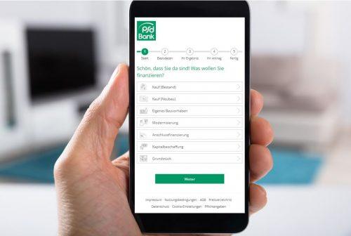 Screenshot im Smartphone PSD Baufinanzierung