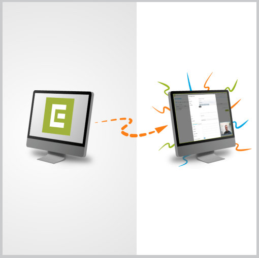 2 Monitore mit ECON Logo und Online-Schulung mit Arne Westphal